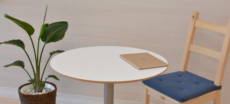Laptop on a table.