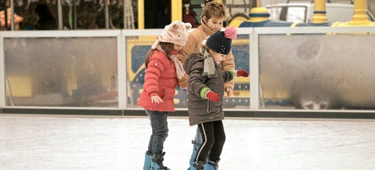 Kids on an ice rink