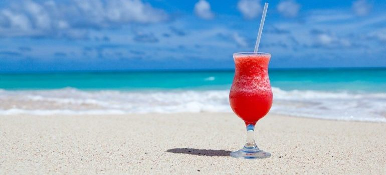 Cocktail on a beach.
