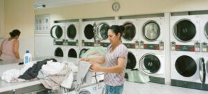 A woman washing clothes