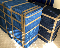 Furniture wrapped in blankets to move