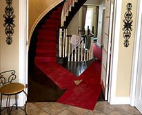 Carpeted stairs in old house