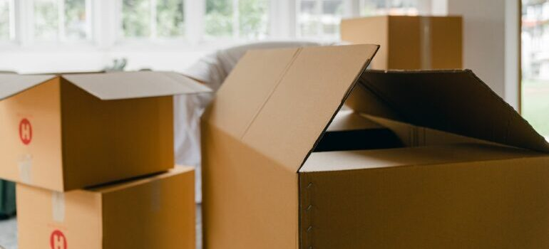Unpacked boxes in a room