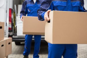 professional movers carrying boxes